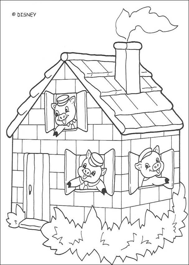 Dibujos para colorear los 3 cerditos en seguridad - es.hellokids.com