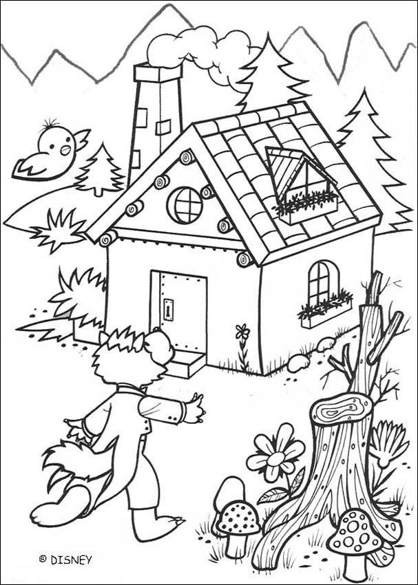 Dibujo para colorear : Lobo y la casa de ladrillo