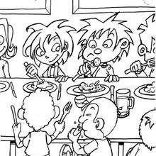 La cantina - Dibujos para Colorear y Pintar - Dibujos infantiles para colorear - Escenas de un día