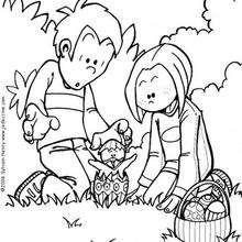 Dibujo para colorear la caza de huevos - Dibujos para Colorear y Pintar - Dibujos para colorear FIESTAS - Dibujos para colorear PASCUA - Dibujos para colorear HUEVOS DE PASCUA
