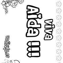 AIDA colorear nombre niña - Dibujos para Colorear y Pintar - Dibujos para colorear NOMBRES - Dibujos para colorear NOMBRES NIÑAS
