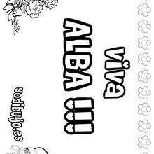 Nombre de niña para pintar : ALBA