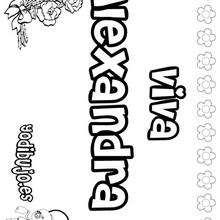 ALEXANDRA colorear nombre niña - Dibujos para Colorear y Pintar - Dibujos para colorear NOMBRES - Dibujos para colorear NOMBRES NIÑAS