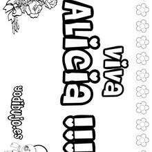 ALICIA colorear nombre niña - Dibujos para Colorear y Pintar - Dibujos para colorear NOMBRES - Dibujos para colorear NOMBRES NIÑAS