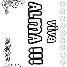 Nombre de niña para pintar : ALMA