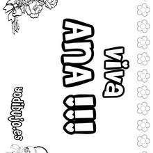 ANA colorear nombre niña - Dibujos para Colorear y Pintar - Dibujos para colorear NOMBRES - Dibujos para colorear NOMBRES NIÑAS