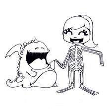 Dibujo para colorear : un esqueleto de Halloween