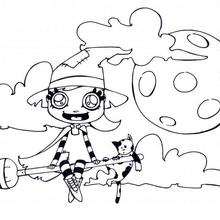 Bruja de Halloween con su gato - Dibujos para Colorear y Pintar - Dibujos para colorear FIESTAS - Dibujos para colorear HALLOWEEN - Dibujo para colorear GATO NEGRO halloween