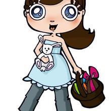 Dibujo de Andrea con Huevos de Pascua para imprimir - Dibujar Dibujos - Dibujos infantiles para IMPRIMIR - Dibujos de PASCUA para imprimir