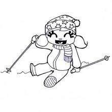 Dibujo de una niña con sus palos de esqui - Dibujos para Colorear y Pintar - Dibujos para colorear DEPORTES - Dibujos de DEPORTES DE INVIERNO para colorear - Dibujos para colorear ESQUI