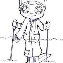Dibujo de esqui niño - Dibujos para Colorear y Pintar - Dibujos para colorear DEPORTES - Dibujos de DEPORTES DE INVIERNO para colorear - Dibujos para colorear ESQUI