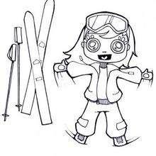 Dibujo de esqui niña - Dibujos para Colorear y Pintar - Dibujos para colorear DEPORTES - Dibujos de DEPORTES DE INVIERNO para colorear - Dibujos para colorear ESQUI