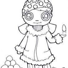 Andrea y sus bolas de nieve - Dibujos para Colorear y Pintar - Dibujos para colorear DEPORTES - Dibujos de DEPORTES DE INVIERNO para colorear