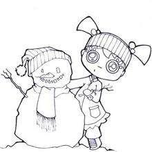 Andrea con su muñeco de nieve - Dibujos para Colorear y Pintar - Dibujos para colorear DEPORTES - Dibujos de DEPORTES DE INVIERNO para colorear