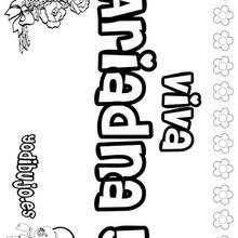 ARIADNA colorear nombre niña - Dibujos para Colorear y Pintar - Dibujos para colorear NOMBRES - Dibujos para colorear NOMBRES NIÑAS