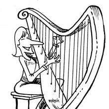 Arpa - Dibujos para Colorear y Pintar - Dibujos infantiles para colorear - Instrumentos de Música: dibujos para colorear