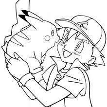 Dibujo Pikachu con Ash - Dibujos para Colorear y Pintar - Dibujos para colorear MANGA - Dibujos para colorear POKEMON - Dibujos para pintar POKEMON