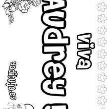 AUDREY colorear nombre niña - Dibujos para Colorear y Pintar - Dibujos para colorear NOMBRES - Dibujos para colorear NOMBRES NIÑAS