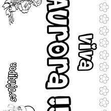 AURORA colorear nombre niña - Dibujos para Colorear y Pintar - Dibujos para colorear NOMBRES - Dibujos para colorear NOMBRES NIÑAS