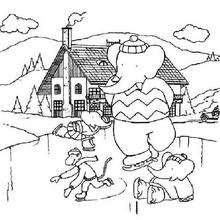 Babar patina - Dibujos para Colorear y Pintar - Dibujos para colorear PERSONAJES - PERSONAJES ANIME para colorear - Babar el elefante para pintar