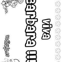 BARBARA colorear nombre niña - Dibujos para Colorear y Pintar - Dibujos para colorear NOMBRES - Dibujos para colorear NOMBRES NIÑAS