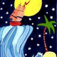 Barco de noche - Dibujar Dibujos - Imagenes para niños - Imagenes PAISAJE