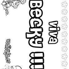 BECKY colorear nombre niña - Dibujos para Colorear y Pintar - Dibujos para colorear NOMBRES - Dibujos para colorear NOMBRES NIÑAS