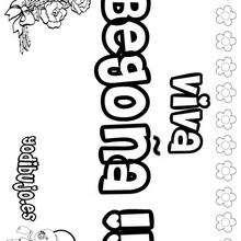BEGOÑA colorear nombre niña - Dibujos para Colorear y Pintar - Dibujos para colorear NOMBRES - Dibujos para colorear NOMBRES NIÑAS