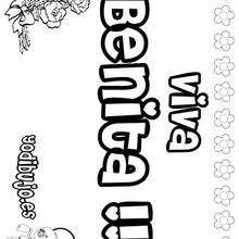 BENITA colorear nombre niña - Dibujos para Colorear y Pintar - Dibujos para colorear NOMBRES - Dibujos para colorear NOMBRES NIÑAS