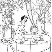 Dibujo para colorear : Blancanieves al pozo