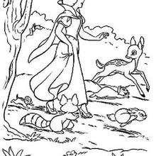 Blancanieves se pasea - Dibujos para Colorear y Pintar - Dibujos DISNEY para colorear - Dibujos para colorear PRINCESAS DISNEY - Dibujos para colorear BLANCANIEVES