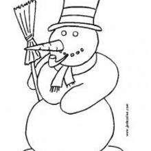 Dibujo para colorear : Muñeco de nieve