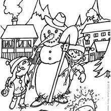 Dibujo para colorear : Muñeco de nieve para Navidad