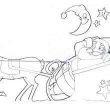 Dibujo para colorear : El Papá Noel con su trineo