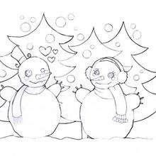 Muñecos de nieve enamorados - Dibujos para Colorear y Pintar - Dibujos para colorear FIESTAS - Dibujos para colorear de NAVIDAD - Colorear dibujos MUÑECOS DE NAVIDAD