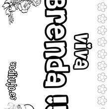 BRENDA colorear nombre niña - Dibujos para Colorear y Pintar - Dibujos para colorear NOMBRES - Dibujos para colorear NOMBRES NIÑAS