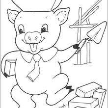Dibujo del cerdito albañil - Dibujos para Colorear y Pintar - Dibujos de CUENTOS para colorear - Dibujos de los 3 CERDITOS para colorear