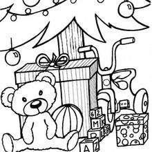 Regalos al pie del árbol - Dibujos para Colorear y Pintar - Dibujos para colorear FIESTAS - Dibujos para colorear de NAVIDAD - OSO NAVIDAD para colorear