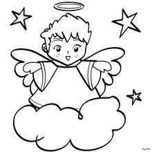 Dibujo Ángel de Navidad con estrellas para colorear - Dibujos para Colorear y Pintar - Dibujos para colorear FIESTAS - Dibujos para colorear de NAVIDAD - Dibujos de ANGELES NAVIDAD para colorear