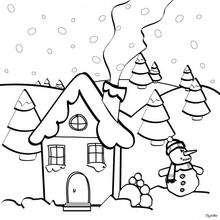 Casa de Navidad - Dibujos para Colorear y Pintar - Dibujos para colorear FIESTAS - Dibujos para colorear de NAVIDAD - Dibujos de Navidad para colorear e imprimir
