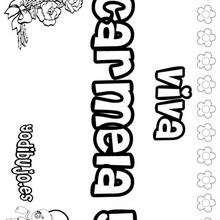 CARMELA colorear nombre niña - Dibujos para Colorear y Pintar - Dibujos para colorear NOMBRES - Dibujos para colorear NOMBRES NIÑAS