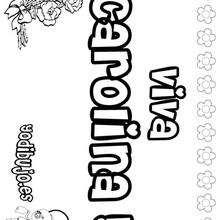 CAROLINA colorear nombre niña - Dibujos para Colorear y Pintar - Dibujos para colorear NOMBRES - Dibujos para colorear NOMBRES NIÑAS