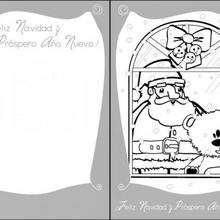 Tarjeta para Navidad, papa noel, la ventana - Manualidades para niños - Manualidades NAVIDEÑAS - TARJETAS DE NAVIDAD para imprimir - Tarjetas de Navidad PAPA NOEL