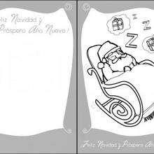 Tarjeta para Navidad, Santa duerme - Manualidades para niños - Manualidades NAVIDEÑAS - TARJETAS DE NAVIDAD para imprimir - Tarjetas de Navidad PAPA NOEL