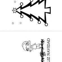 Tarjeta para Navidad, árbol y estrella - Manualidades para niños - Manualidades NAVIDEÑAS - TARJETAS DE NAVIDAD para imprimir - Tarjetas navideñas GRATIS