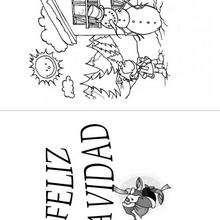 Tarjeta Año Nuevo, el niño y el muñeco - Manualidades para niños - Tarjetas de felicitaciones: Año Nuevo