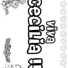 CECILIA colorear nombres niñas - Dibujos para Colorear y Pintar - Dibujos para colorear NOMBRES - Dibujos para colorear NOMBRES NIÑAS