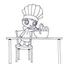 Cesta de verduras - Dibujos para Colorear y Pintar - Dibujos para colorear PROFESIONES Y OFICIOS - Los cocineros en ciernes