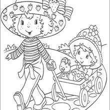 Tarta de Fresa, Compotita y Patito paseándose - Dibujos para Colorear y Pintar - Dibujos para colorear PERSONAJES - PERSONAJES ANIME para colorear - Tarta de fresa para colorear