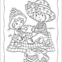 Dibujo para colorear : El picnic de Tarta de Fresa y Compotita